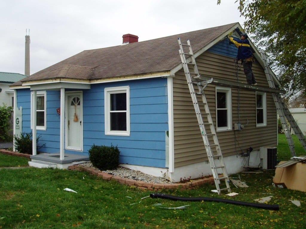blue vinyl siding